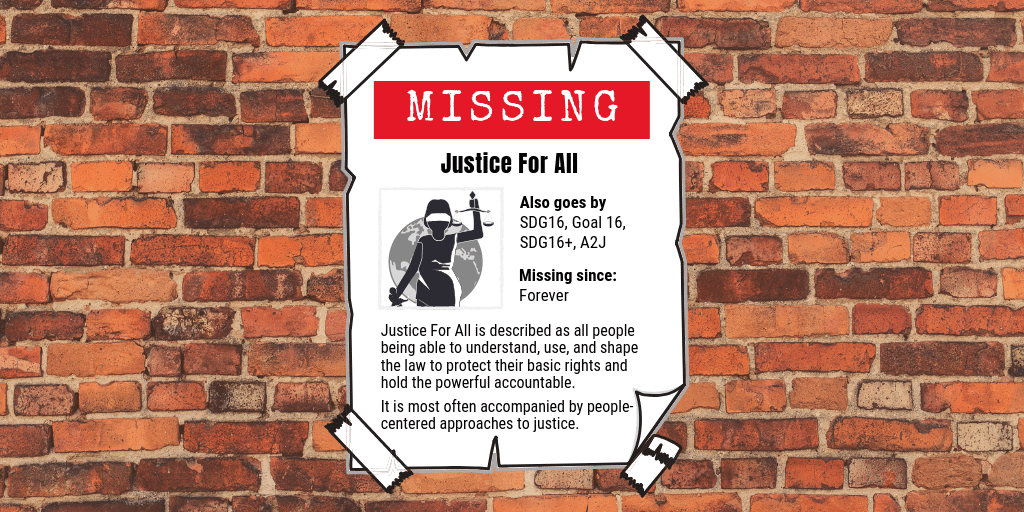Justice For All 'Missing poster' on red brick wall